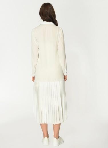 Loves You Uzun Kol Eteği Piliseli Şifon Elbise Beyaz